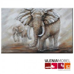 Cuadro  Elefantes Tridimensional